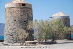 Windmills on Spinalonga, Greece