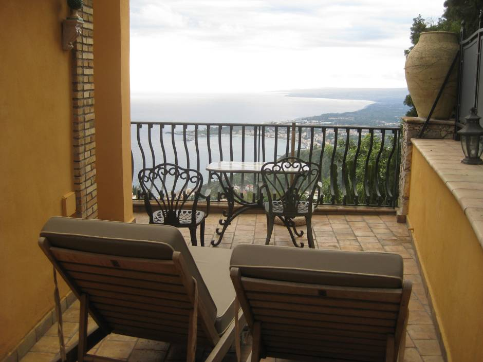 Our terrace at Villa Ducale, Taormina, Sicily.  We also had a small balcony.