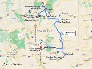 5 Day New Mexico Trip Itinerary Map