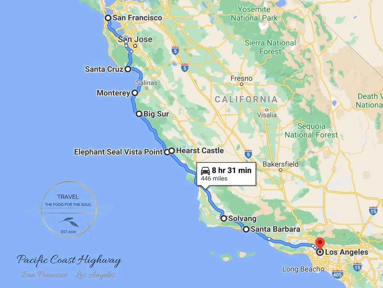 Pacific Coast Highway Attractions Map San Francisco to Los Angeles