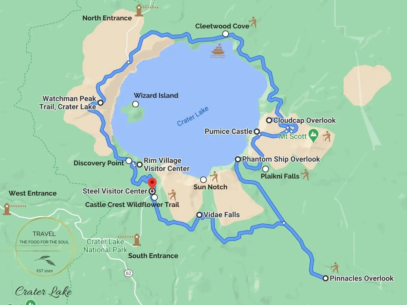 Crater Lake National Park Attractions Map