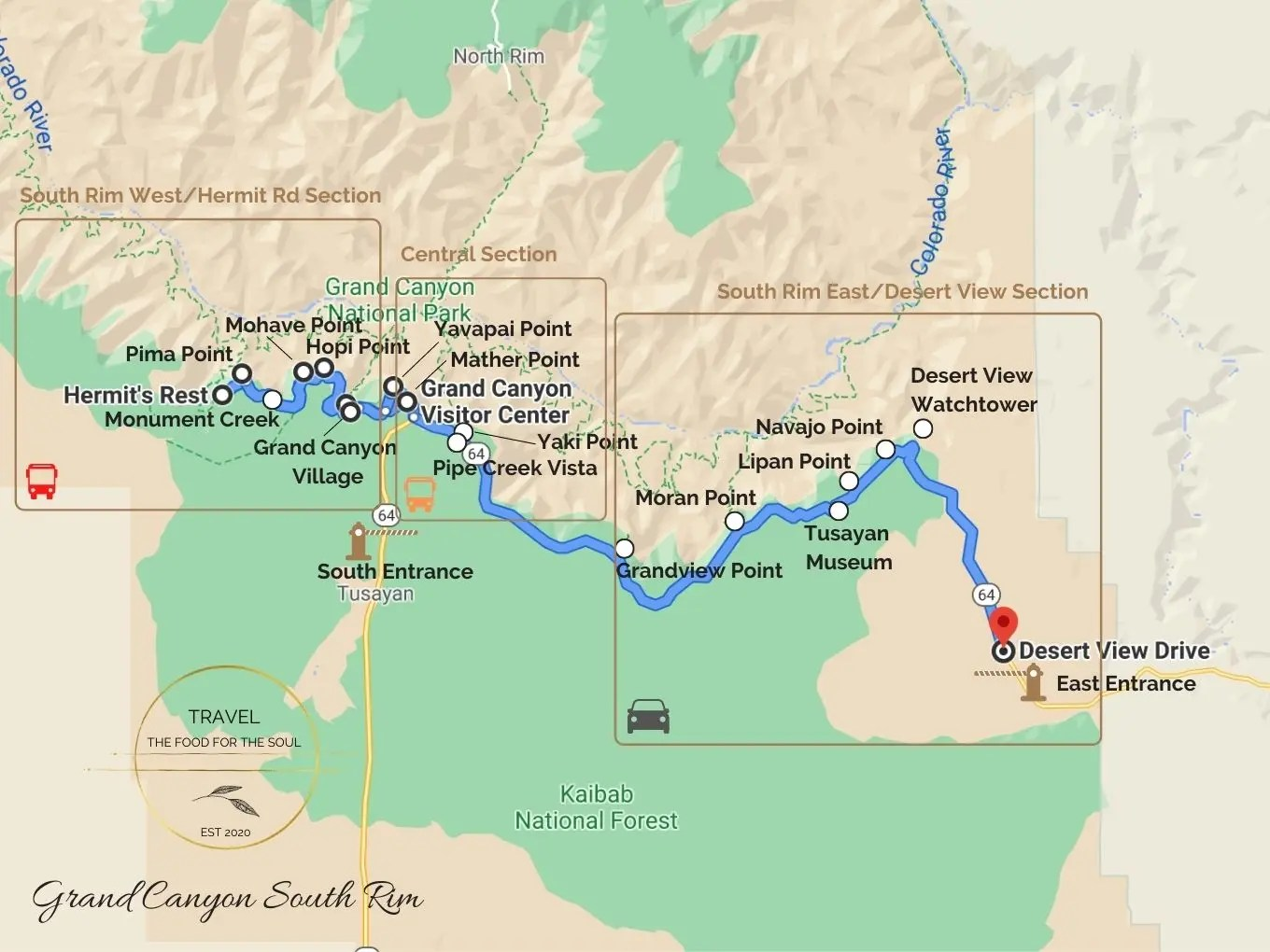 Grand Canyon South Rim Attractions Map