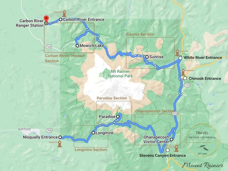 Mount Rainier National Park Attractions Map