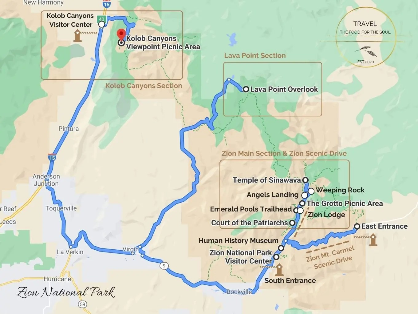 Zion National Park Attractions Map