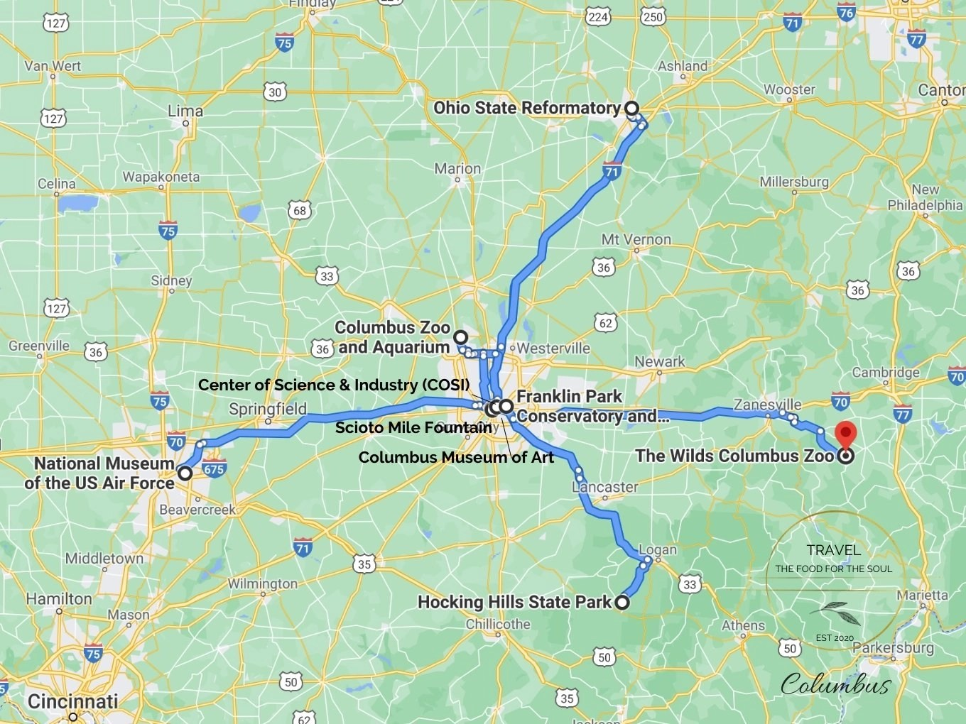 Columbus Attractions Map