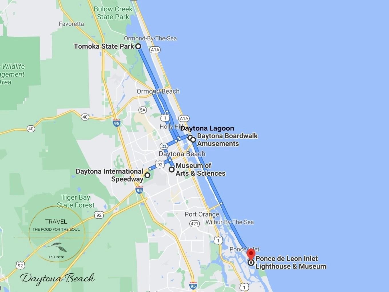 Daytona Beach Attractions Map