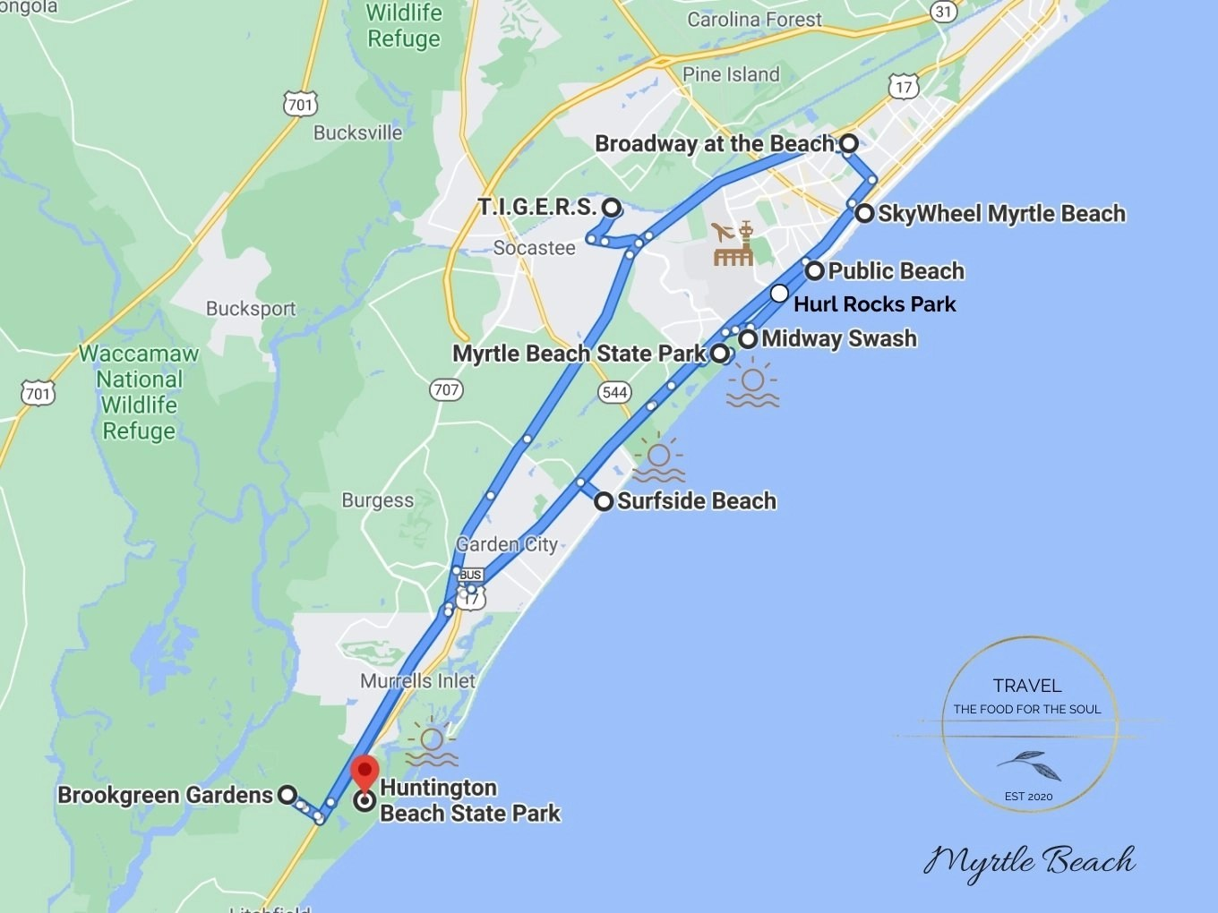 Myrtle Beach Attractions Map Myrtle Beach Travel Guide