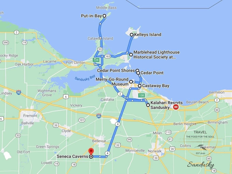 Sandusky Attractions Map