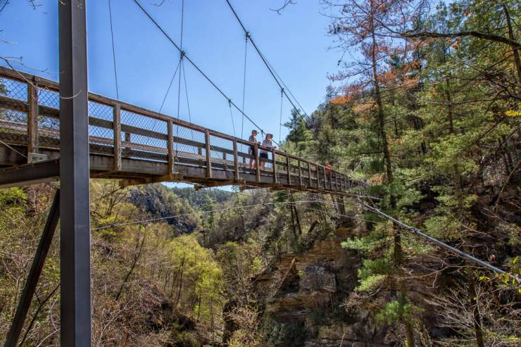 Hiking Tallulah Gorge: boys on swing bridge