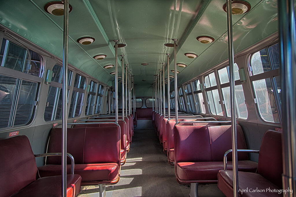 Touring Southeastern Railway Museum: Inside of Old Bus