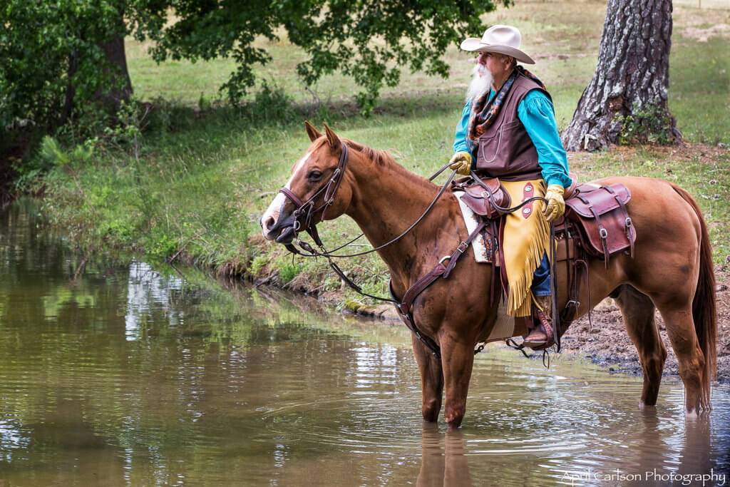 Horse Photography Workshop: Cowboy on his horse at the watering hole