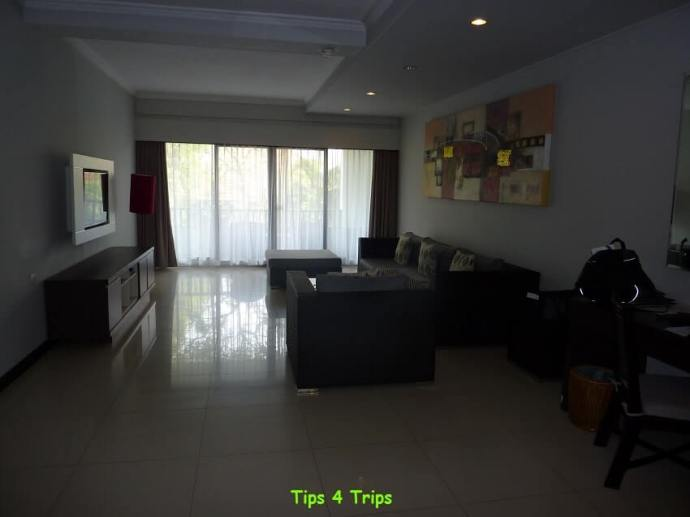 The living room in the two bedroom suite at Sanur Paradise Plaza suites