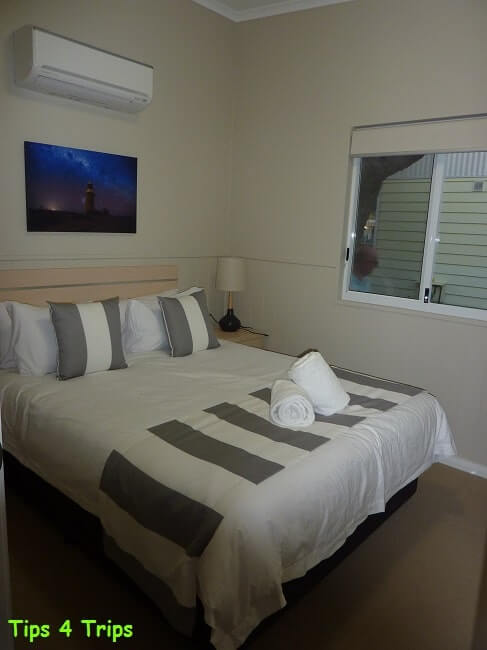 The main bedroom in the two bedroom villa I review at the RAC Cervantes Holiday Park review for a getaway to see Western Australia's Pinnacle Desert staying in the new two bedroom villa.