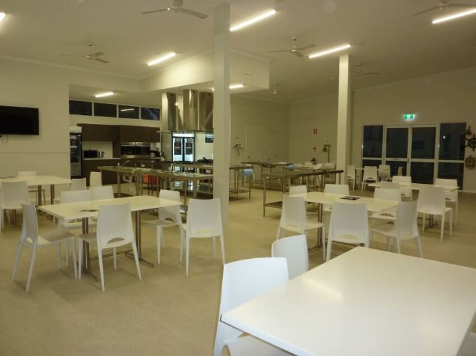 The new camp kitchen at RAC Cervantes Holiday Park review for a getaway to see Western Australia's Pinnacle Desert staying in the new villas with new park facilities.