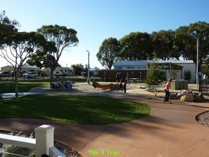 The toddler playground I review at RAC Cervantes Holiday Park review for a getaway to see Western Australia's Pinnacle Desert staying in the new two bedroom villa that has a great playgrounds.