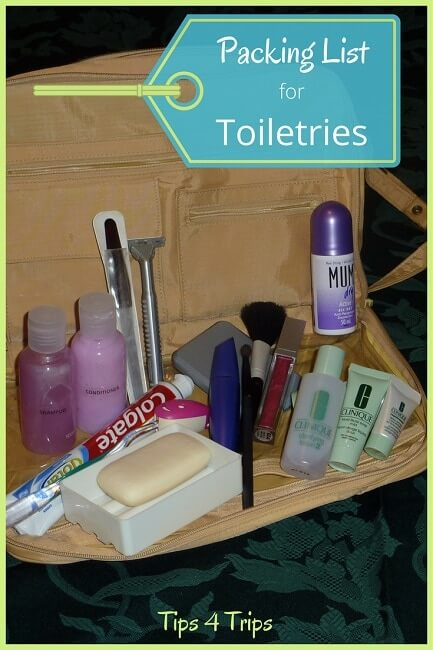 A travel toiletries list for holidays. Use this holiday toiletry packing checklist to pack your toiletry bag when you next vacation. These travel tips and hacks will help you be prepared for your next trip.