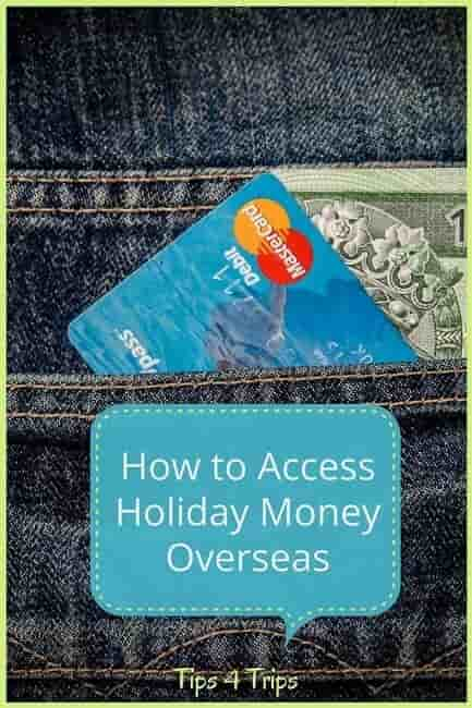 Travel tips and ideas on how to take holiday money overseas when you travel on a vacation. The pros and cons for 4 ways to access travel money abroad. Cash, credit card, debit card, prepaid travel card