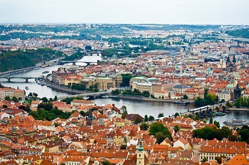 aerial view of the old town of Prague