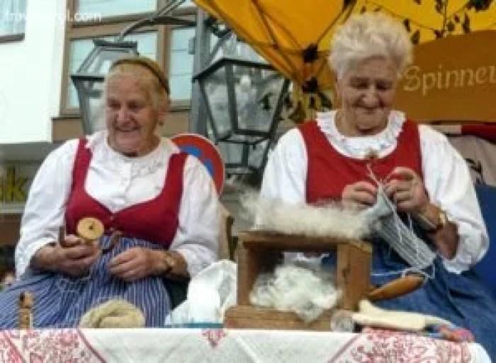 Women farmers showing their handcraft in Austria.