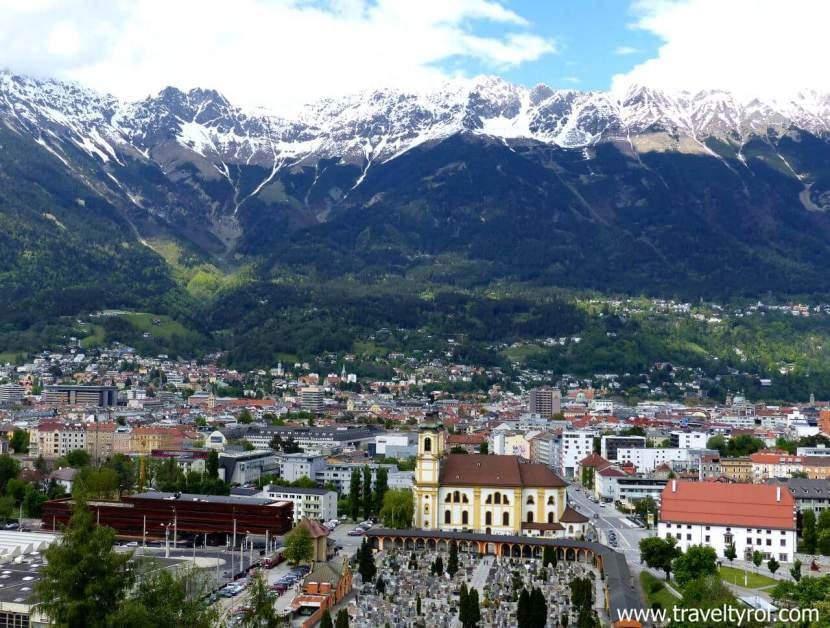 Innsbruck panorama view from the Bergisel.