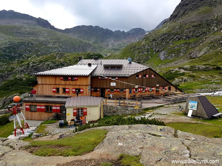 The Sulzenauhütte in the Stubai Alps in Austria.