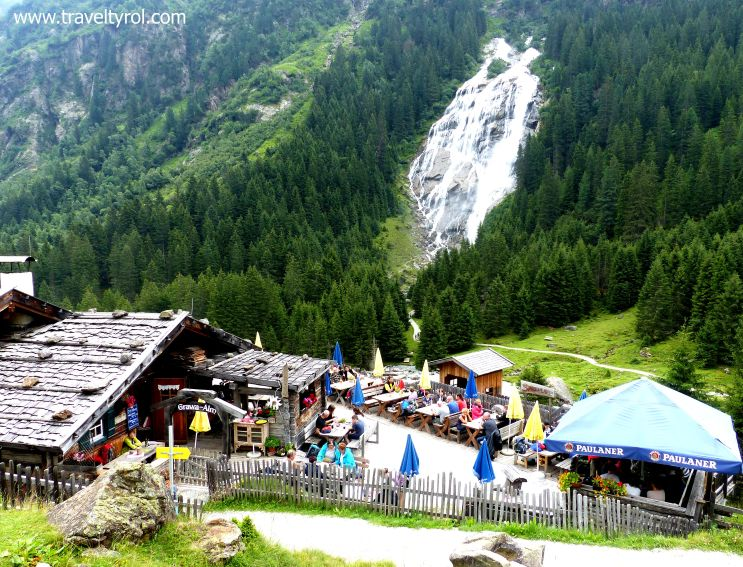Grawa Alm with Grawa Waterfall in the Stubai Alps.