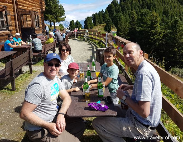Cheers at the Alpengasthof Boscheben on the Zirbenweg.