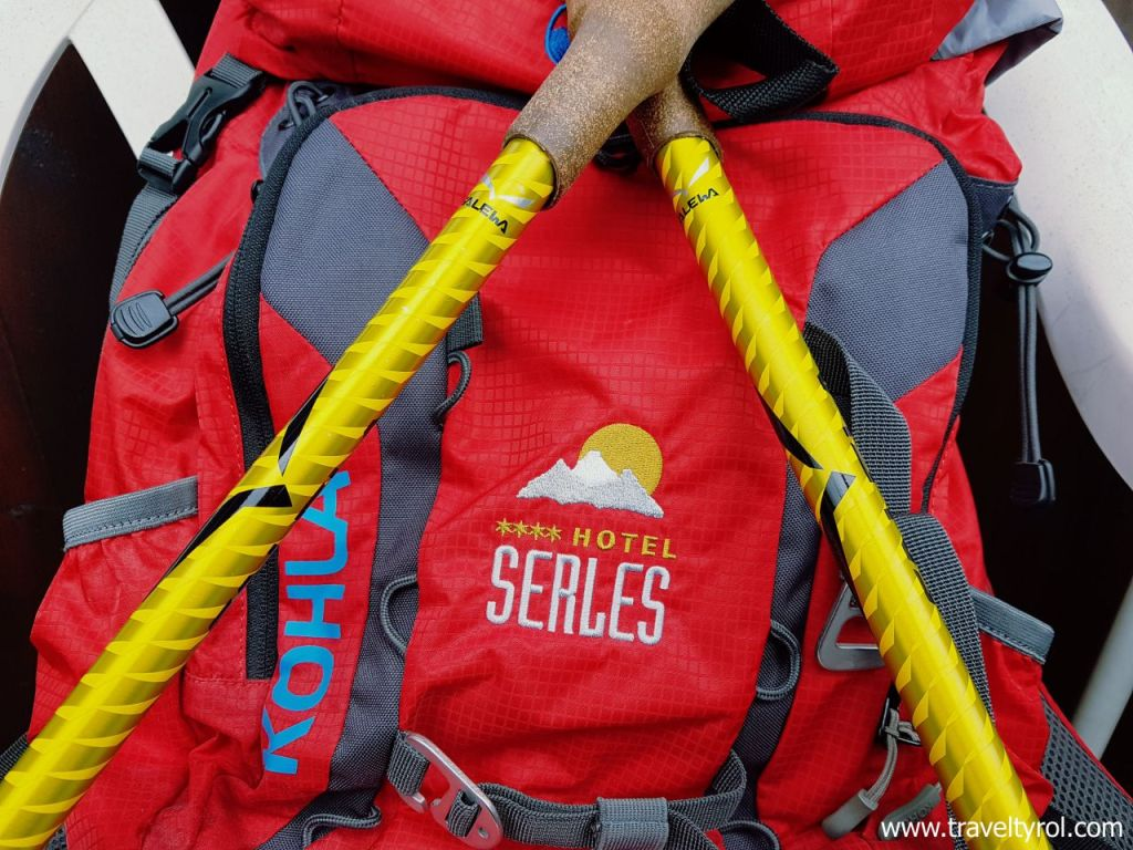 Hotel Serles hiking pack and poles.