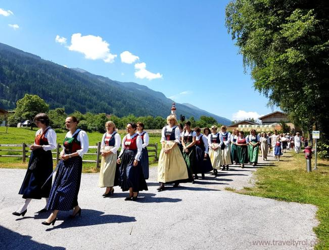 Traditional Dirndl dress for Fronleichnam in Austria.
