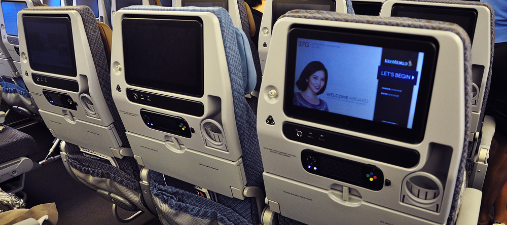 Economy class has the same Inflight Entertainment system as the upper two classes but with a smaller screen and less connectivity