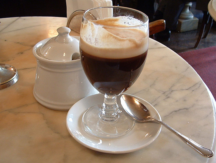 Bicerin, the luxury chocolate drink from Turin © By Jeremy hunsinger (bicerinUploaded by [[User:Di�doco|Di�doco]]) [CC-BY-2.0], via Wikimedia Commons