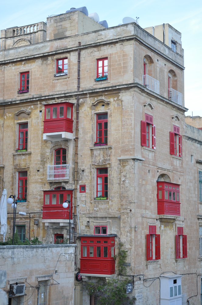 Typical covered galleries at Victoria Gate, Valletta