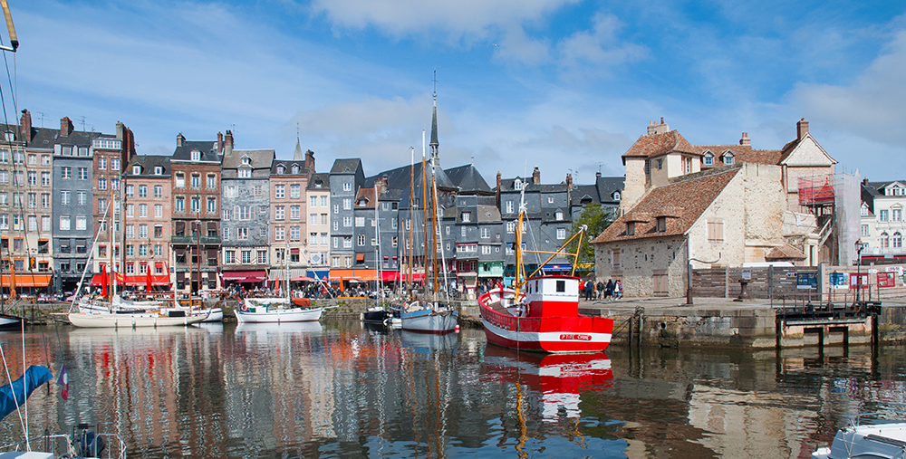 Boats and the old harbour at Honfleur
