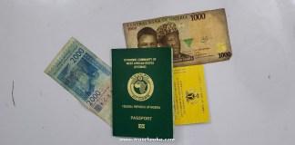 Nigerian passport and yellow fever card