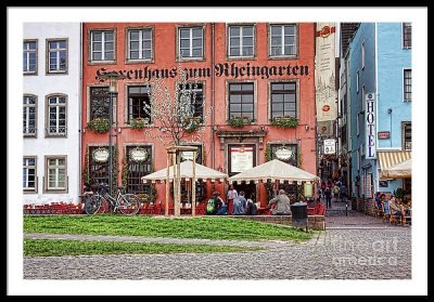 Cologne sidewalk restaurant - framed print
