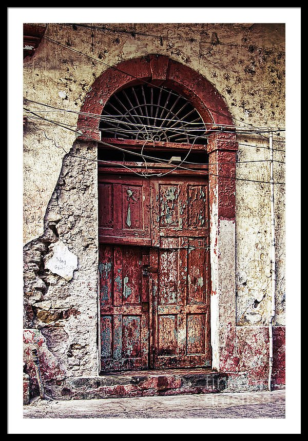 Old door in Casco Viejo Panama - Framed art print