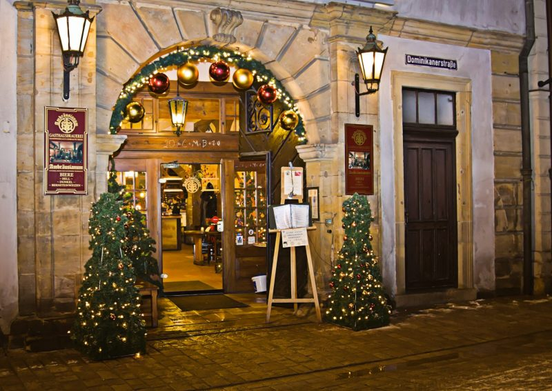 Restaurant entrance in Bamberg, Germany