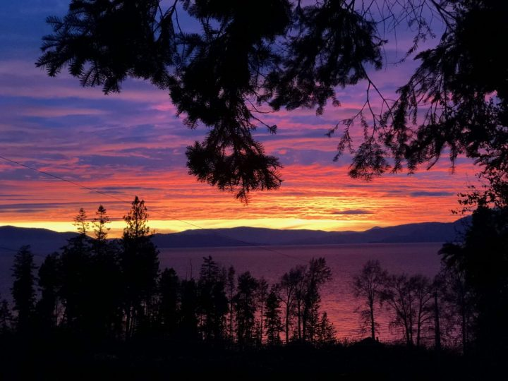 Flathead National Forest and Lake at sunset, Montana