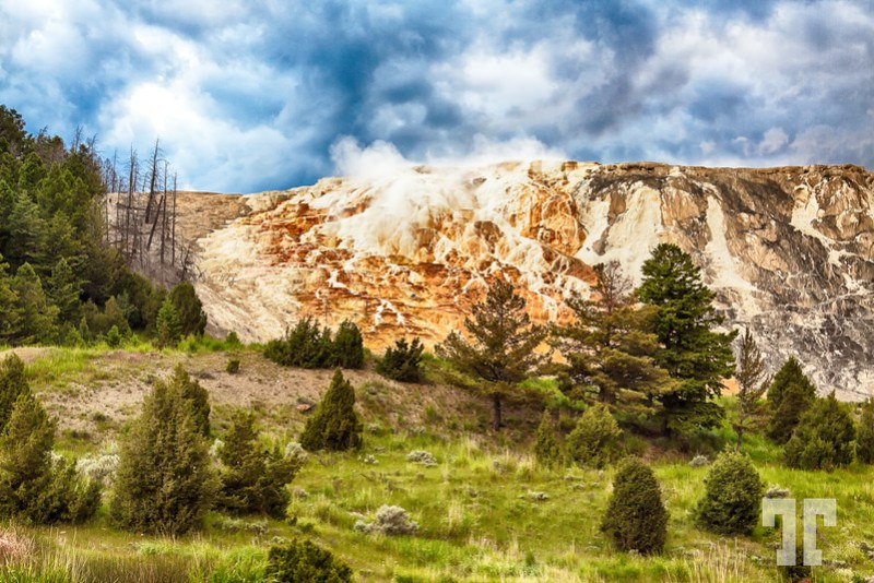Mammoth Springs and rock formations