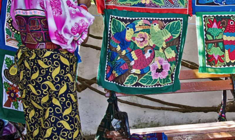 indigenous Kuna woman selling Molas at Casco Viejo, Panama