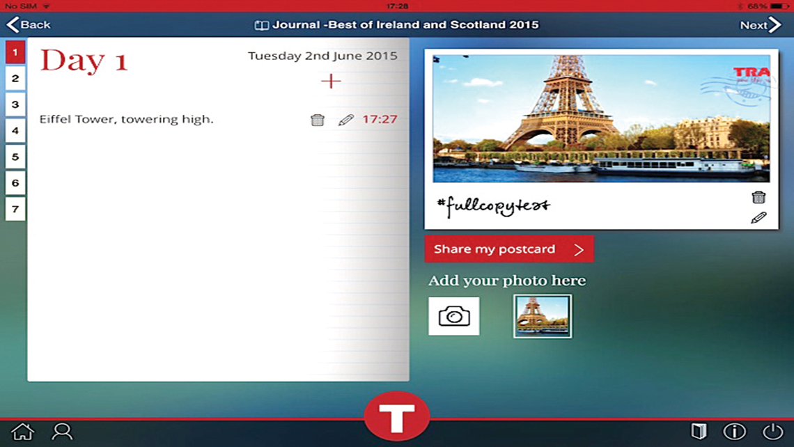 The myTrafalgar app includes a journaling function, which allows users to take notes and upload photos of their trip.