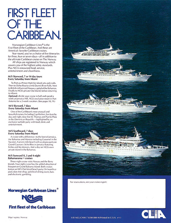 An ad from 1981 for Norwegian Caribbean Line's four ships.