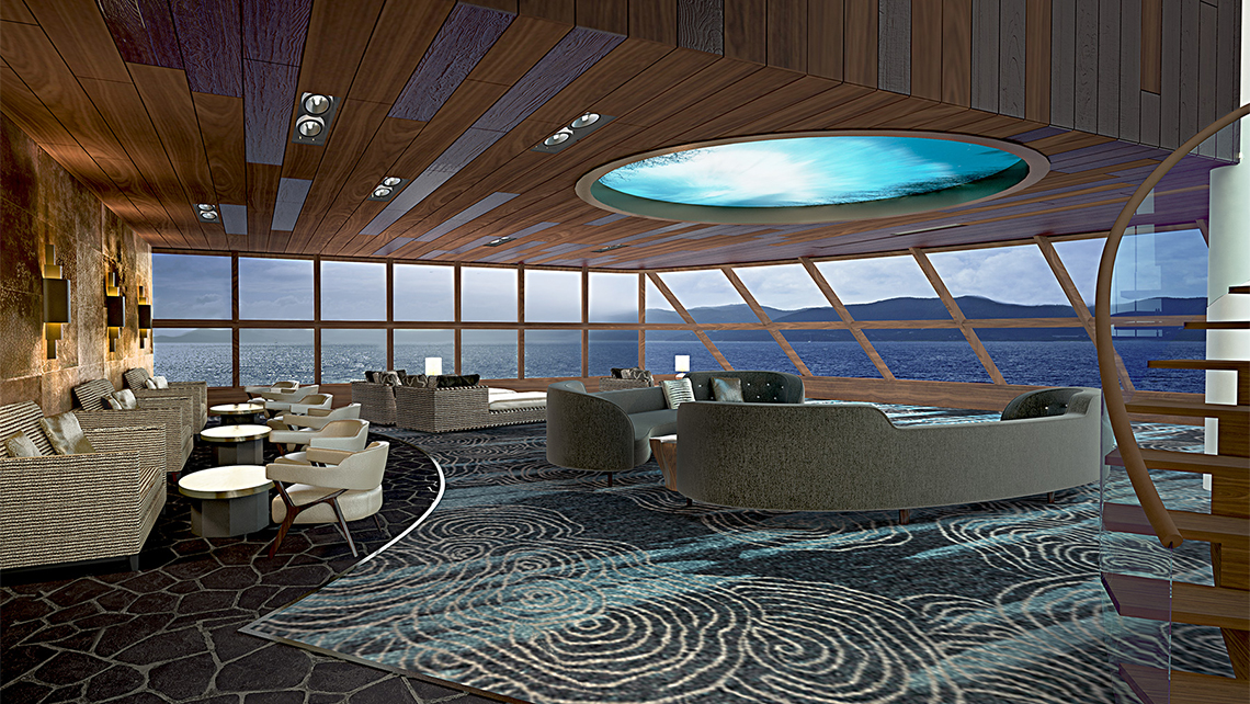 A rendering of the Haven observation launge on the Norwegian Bliss.