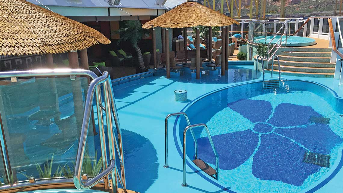 In the Havana Cabana section onboard the Carnival Vista, guests have exclusive access to an aft pool area and a promenade. Carnival is expanding the 61-cabin exclusive section on the Horizon, due next year. Photo Credit: TW photo by Tom Stieghorst