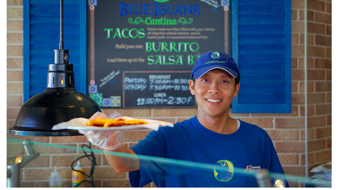 The BlueIguana Cantina is a complimentary restaurant on the pool deck.