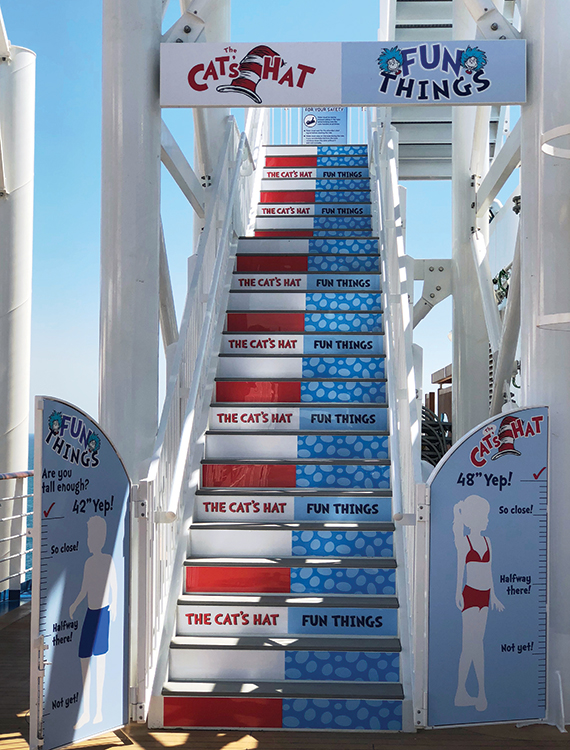 Stairs to the water slides at the Dr. Seuss WaterWorks. Photo Credit: Tom Stieghorst