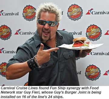 Carnival Cruise Lines partners with Guy Fieri to add Guys Burger Joints
