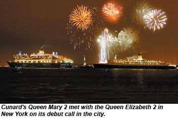 Cunard Queen Mary 2 and Queen Elizabeth 2 in NYC