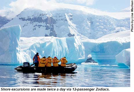 Shore excursions are made twice a day via 12-passenger Zodiacs.