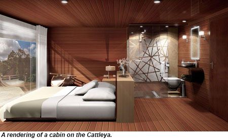 Rendering of a cabin on the Cattleya.
